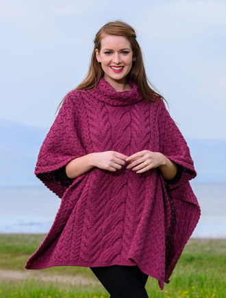 Super Soft Cowl Neck Poncho - Jam