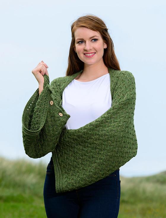 Super Soft Trellis Poncho - Meadow Green