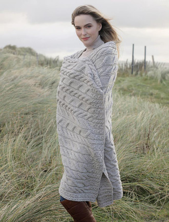 Super Soft Aran Throw - Toasted Oat