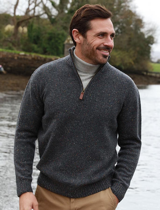 Donegal Blend Zip Neck Sweater - Graphite