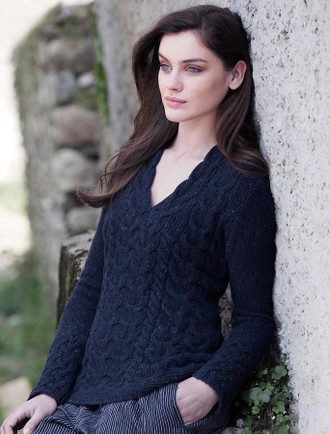 Wool Cashmere Cable V-Neck Sweater