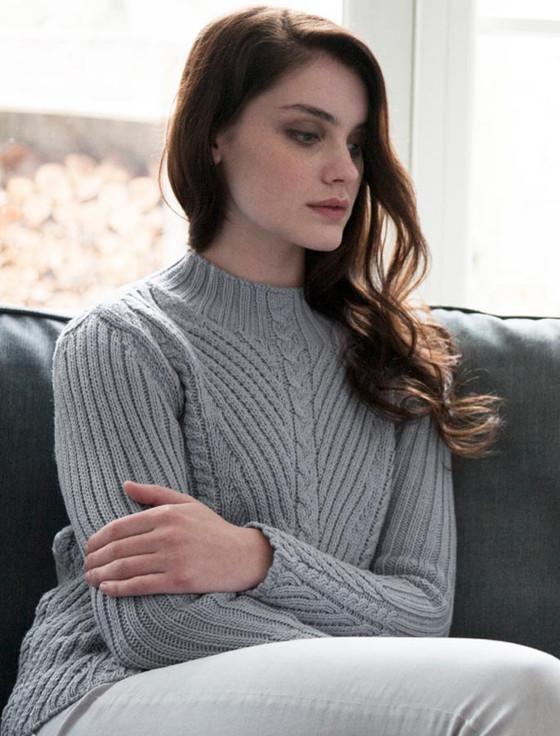 Merino Funnel Neck Ribbed Sweater