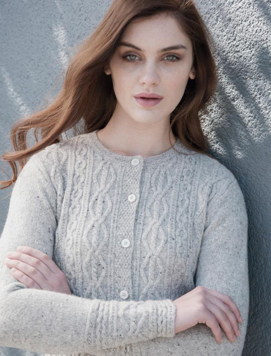 Fine Wool Cashmere Button Cardigan