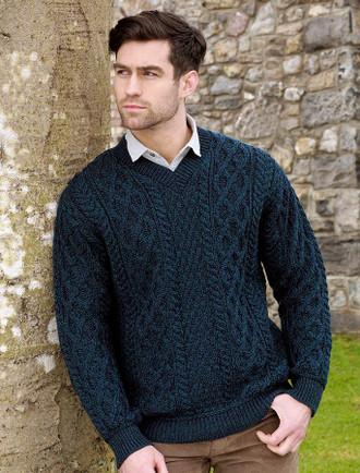 Merino V-Neck Aran Sweater