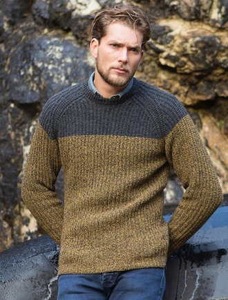 Wool Cashmere Two Tone Crew Neck