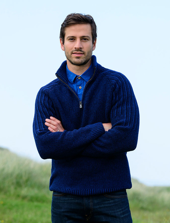 Superfine Geelong Luxury Zip Neck Sweater - Indigo