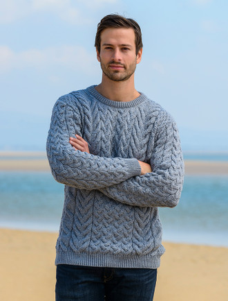 Super Soft Aran Crew Neck Sweater - Ocean Grey
