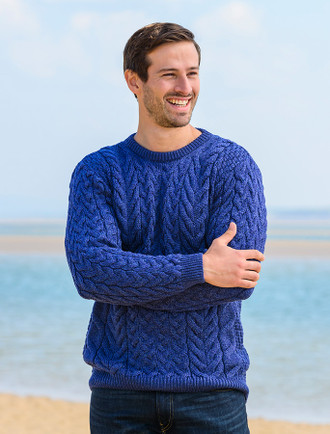 Super Soft Aran Crew Neck Sweater - Ink