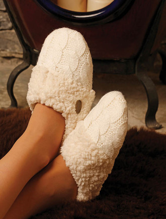 Irish Wool Adult Slippers - Aran White