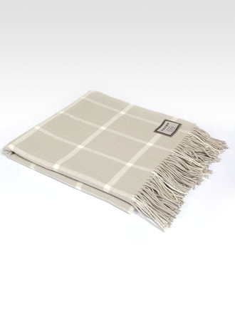 Lambswool Throw - Bone Windowpane