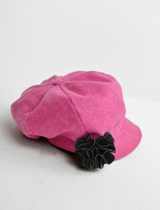 Ladies Tweed Newsboy Hat - Baby Pink