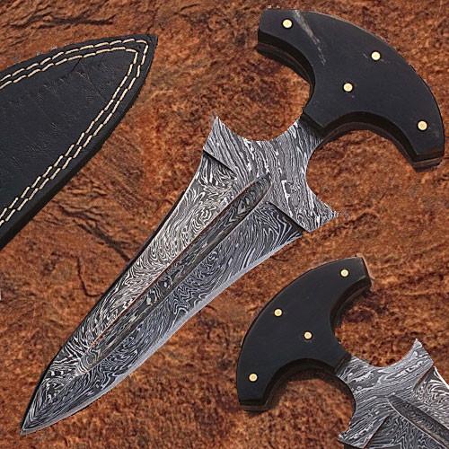 Push Dagger Custom Made Damascus Blade Edge Import