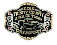 This is a beautiful buckle done for the Trinity County Area Go Texan