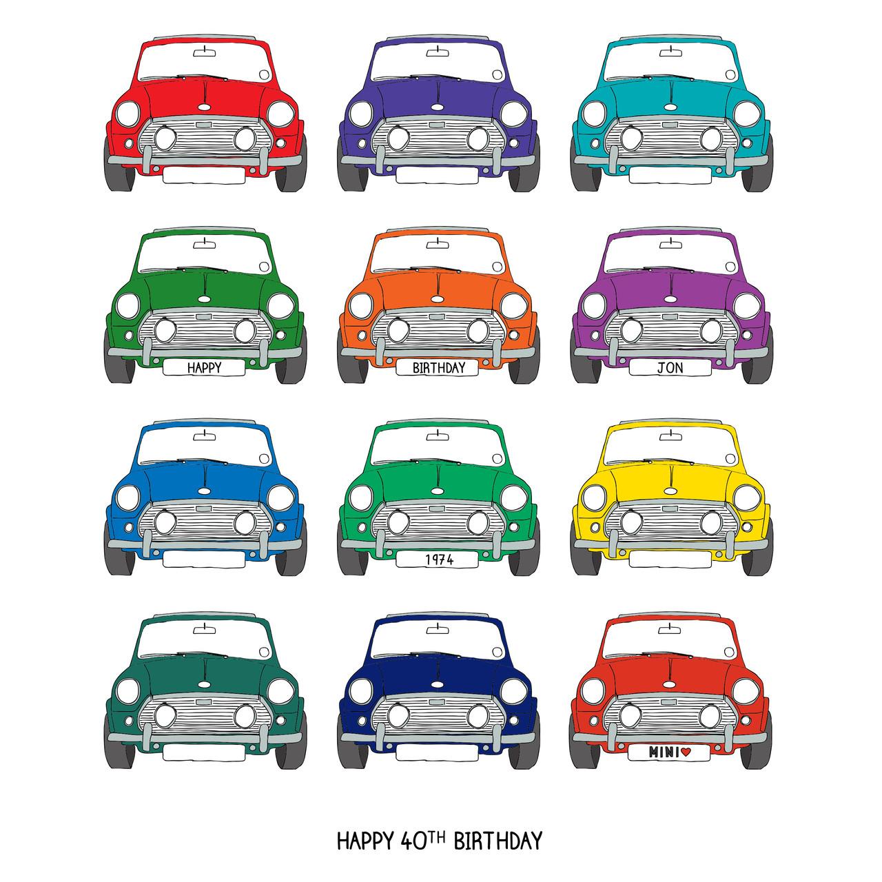 Print Example: Personalised Mini Cooper Car Print