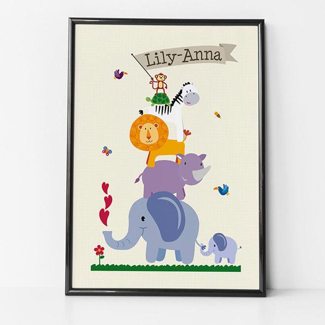 Personalised Children's Animal Nursery Print
