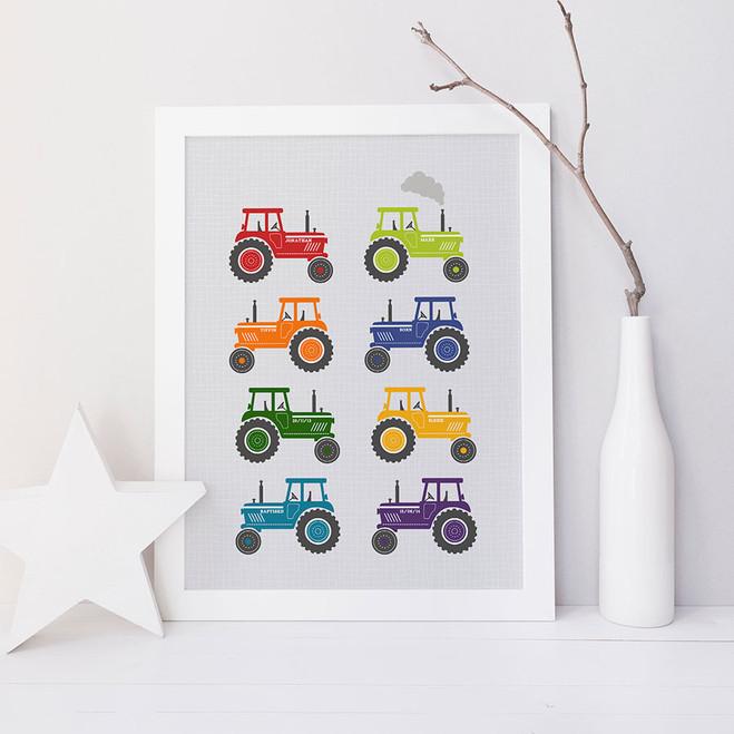 Childrens Tractor Art Print