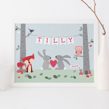 Personalised Woodland Animal Print - pink and blue tones