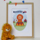 Personalised Children's Circus lion Name Print - framed