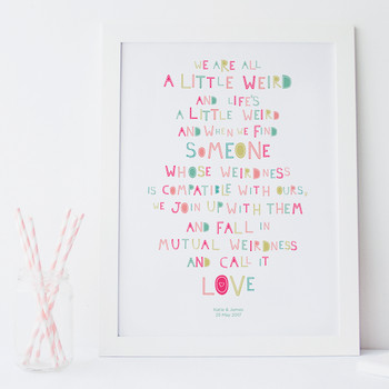 We are all weird personalised print - white frame