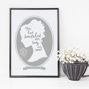 Jane Austen Pride and Prejudice Love Print - Grey