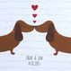 Personalised Sausage Dog Love Print - detail