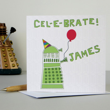 Personalised Dr Who Dalek Birthday Card