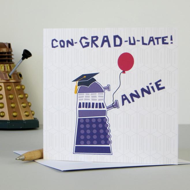 Personalised Dr Who Dalek Graduation Card
