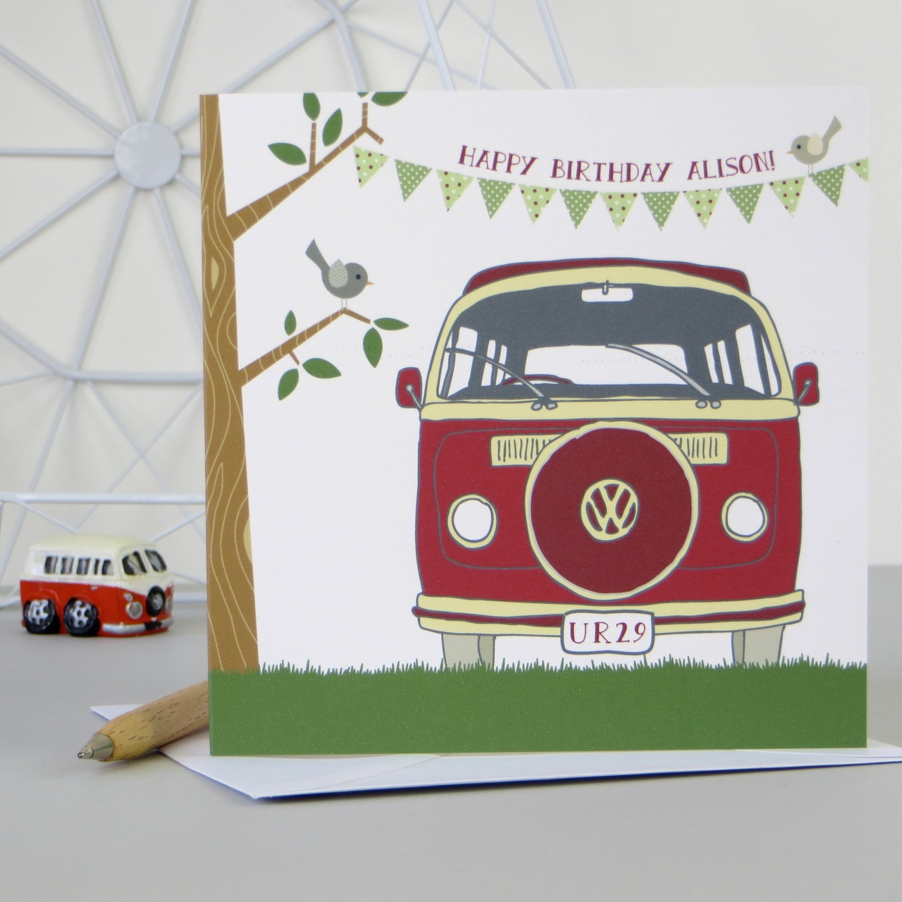 funny office picture ideas - Personalised Retro Camper Van Birthday Card