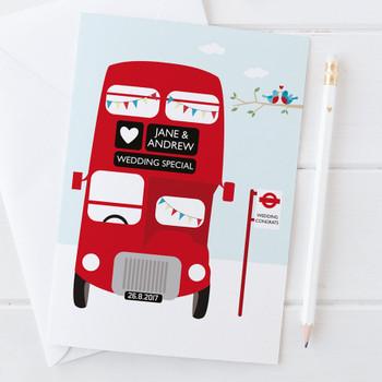 Personalised Red London Bus Wedding Card