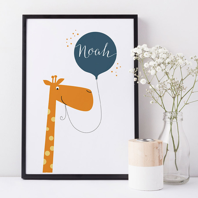 Personalised Fun Giraffe Name Print For Children - blue