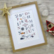 Personalised Nautical Alphabet Print For Children - framed
