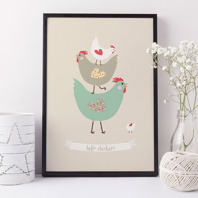 Hello Chicken! Print for Kitchens or Nursery