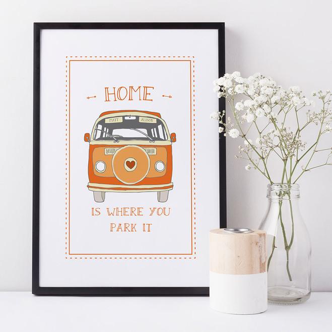 'Home Is Where You Park It' Camper Van Print - orange