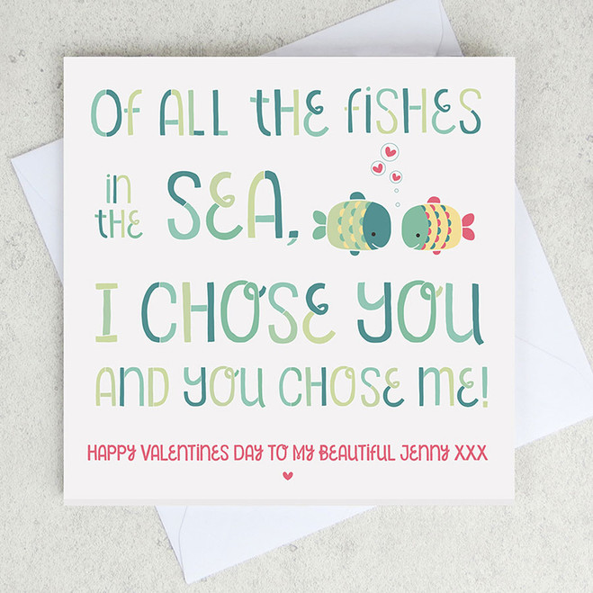 All the fishes in the sea personalised valentines card