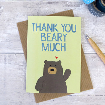'Thank you Beary Much' Bear Thank You Card