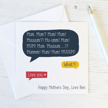 Funny Mothers Day Speech Bubble Personalised Card