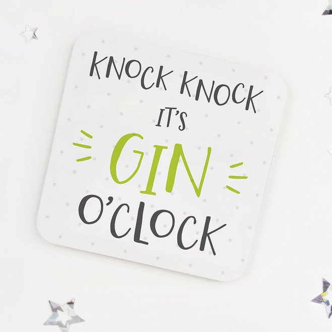 Knock Knock, It's Gin O'Clock: Fun Drinks Coaster