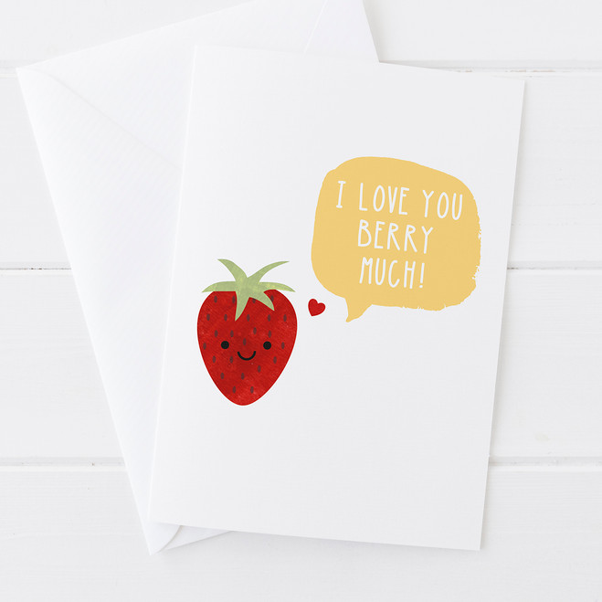 Wink Design - Funny Fruit Card - I Love You Berry Much - Valentines Card