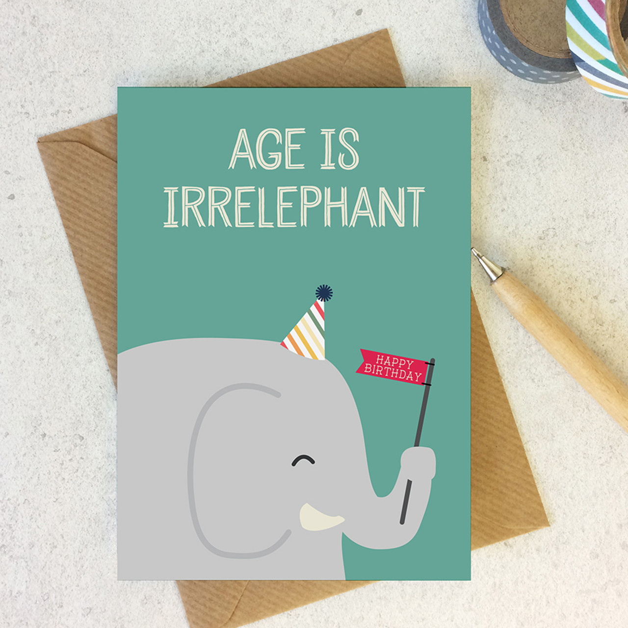 Wink Design Animal Pun Card Happy Birthday Birthday Card