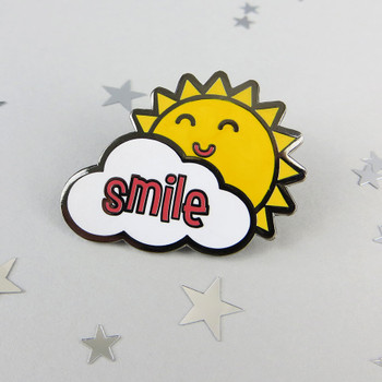Sunshine Smile Enamel Pin Badge by Wink Design