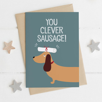 Clever Sausage! Dachshund Exam / Graduation Card