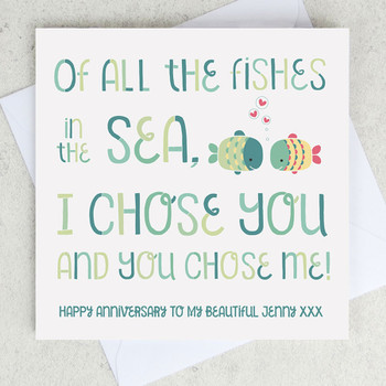 Anniversary card - All the Fishes in the Sea - by Wink Design