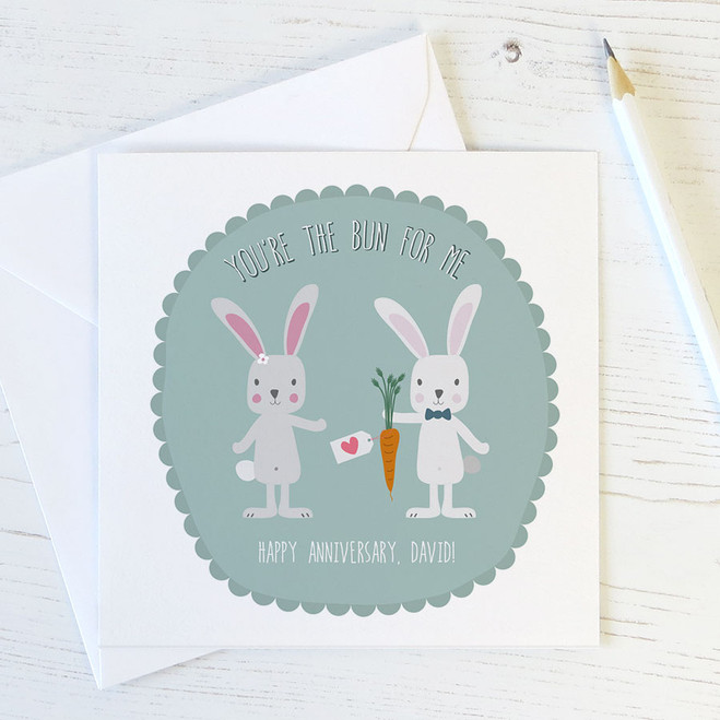 You're the Bun for Me - Personalised Rabbits Anniversary Card by Wink Design
