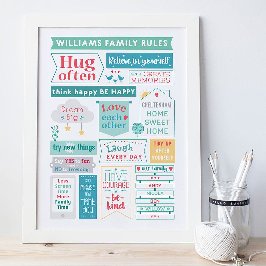 Personalised Family Rules Print