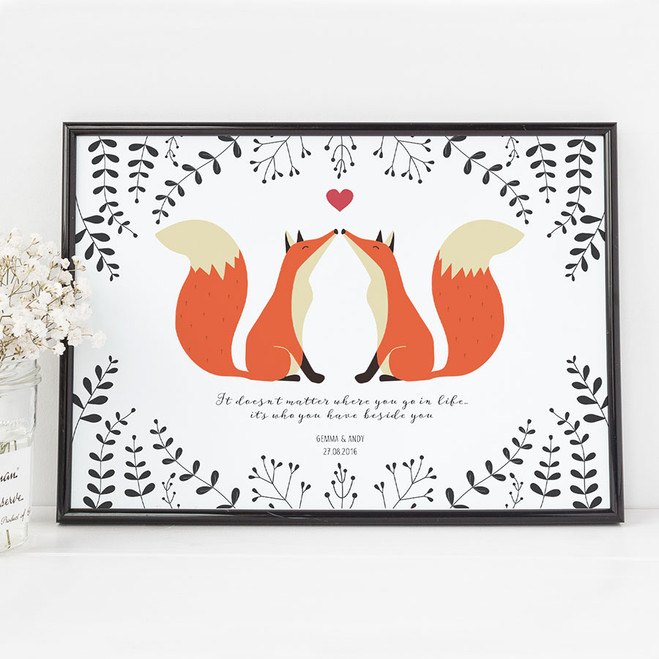Personalised Foxes in Love Print