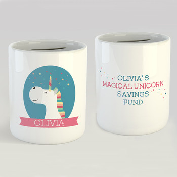 Personalised Magical Unicorn Savings Fund Money Box by Wink Design
