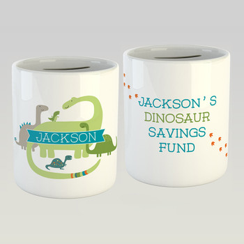 Personalised Dinosaur Savings Fund Money Box by Wink Design