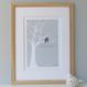 Love Birds Print - Eau-De-Nil - oak framed