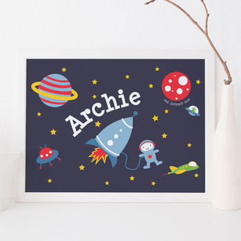 Personalised Space Rocket Print for Children