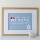 'What I Love Most About My Home' Personalised Print - Pale Blue with Red Accents